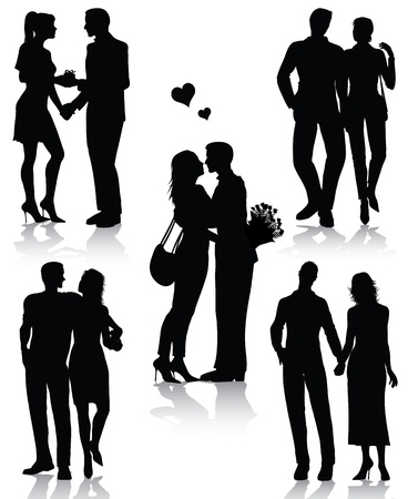 Couple silhouettes isolated on white background