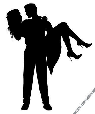 Photo pour romantic couple silhouettes - image libre de droit