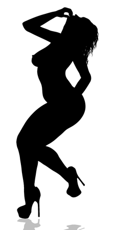 Illustrazione per Female wearing only heels silhouette. - Immagini Royalty Free