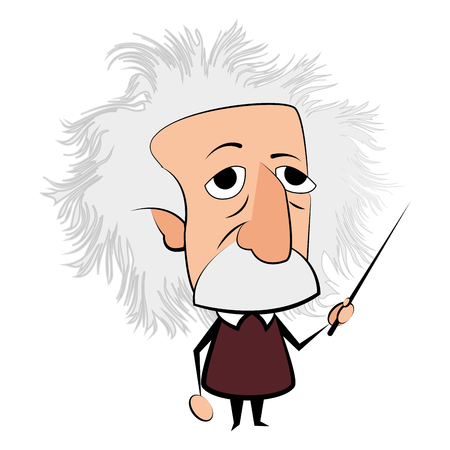 Illustrazione per Isolated Einstein character on a white background, Vector illustration - Immagini Royalty Free