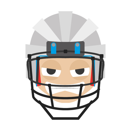 Isolated avatar of rugby player on a white backdrop illustration.