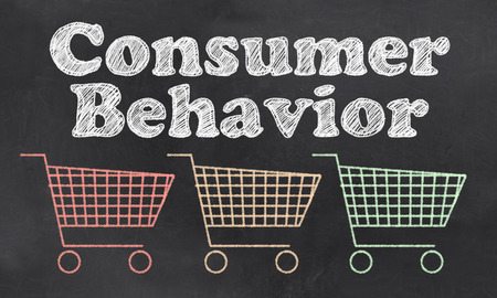 Foto de Consumer Behavior with Carts In Red, Orange and Green - Imagen libre de derechos