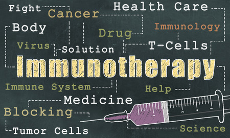 Photo pour Words of Immunotherapy on Blackboard in Classic old Style - image libre de droit