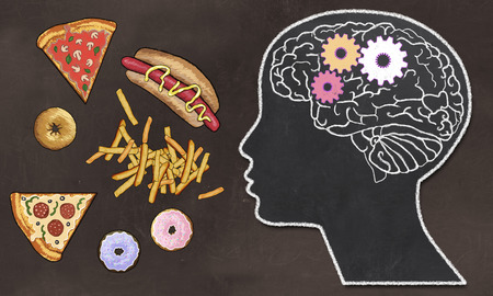 Foto de Addiction illustrated with Fast Food and Brain Activity in classic drawing Style on Brown Blackboard - Imagen libre de derechos