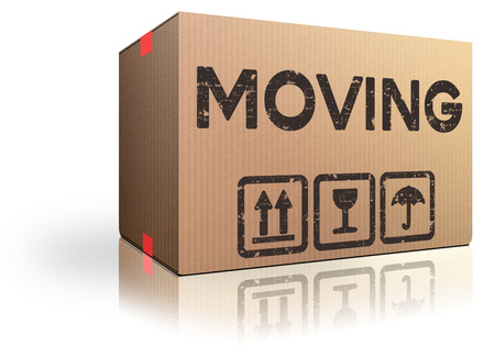 Photo for moving box translocation move in or out we have moved cardboard package - Royalty Free Image