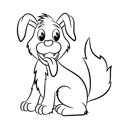 Illustration pour Dog. Coloring book design for kids and children. Vector illustration Isolated on white background. - image libre de droit