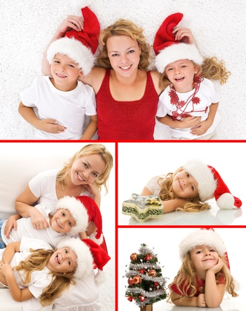 Happy christmas people collage smiling and having fun