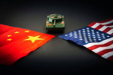 Photo pour China-US trade war concept - Military facilities on the flag of China and the United States - image libre de droit