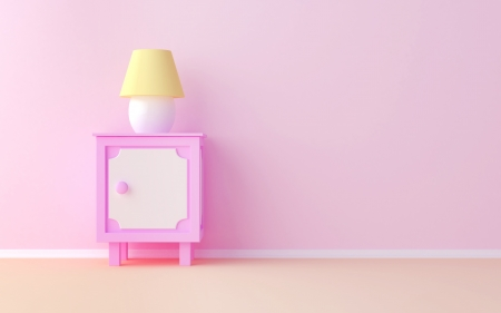 The pink nightstand at the pink wall