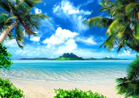 Photo pour Tropical coast, beach with hang palm trees. View of the Sea, the island green and the sky with large clouds. Magical lighting. - image libre de droit