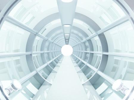 Photo pour Futuristic tunnel of steel and metal, interior view  Futuristic background, business concept - image libre de droit