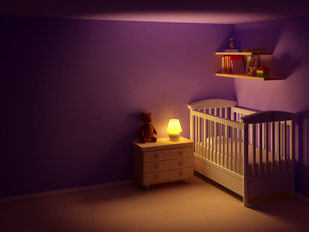 Photo pour Baby's bedroom with commode and bear at night.  Empty room, night scene - image libre de droit