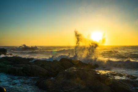 Photo for Beautiful sunrise and fantastic waves of Dongmyeong Port, Sokcho, Gangwon-do - Royalty Free Image