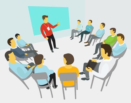 Illustration for Group of business people having a meeting around conference / collaboration and discussion /  process conference / presentation - Royalty Free Image