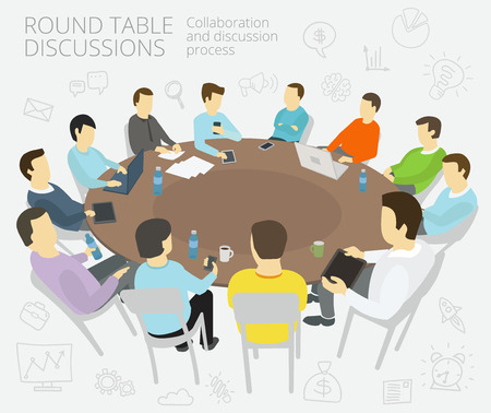 Illustration pour Group of business people having a meeting round-table talks conference collaboration and discussion process conference presentation - image libre de droit