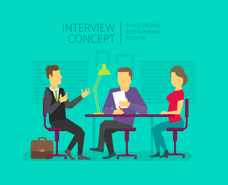Illustration pour Man to give, grant an interview. Chat show. Personal interviewer Three people at the table. - image libre de droit