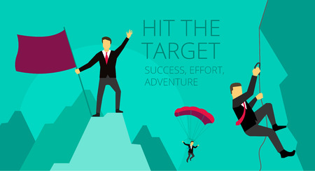 Illustration for Businessman adventure activities overcoming difficulties. Symbolic image of work journey. mountaineer climber climbs the mountain - Royalty Free Image