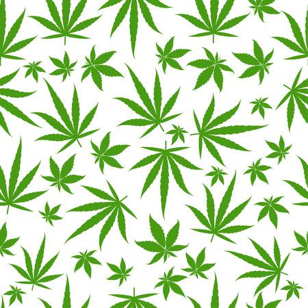 Illustration pour Marijuana green leaves on a white background. Rasta seamless pattern. Rastafarian cannabis hemp template fill. Vector flat Illustration. Square stock clipart. - image libre de droit