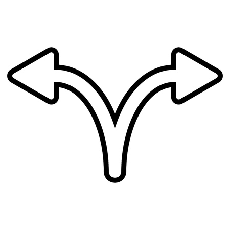 Illustration pour Split Arrow Left Right vector icon. Style is contour icon symbol, black color, white background. - image libre de droit