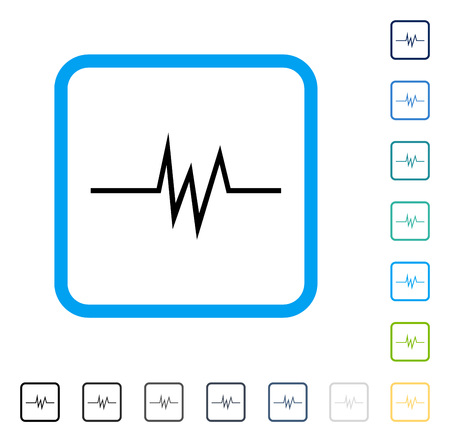 Foto de Pulse Signal icon inside rounded rectangle frame. Vector illustration style is a flat iconic symbol in some color versions. - Imagen libre de derechos