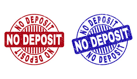 Photo pour Grunge NO DEPOSIT round stamp seals isolated on a white background. Round seals with grunge texture in red and blue colors. Vector rubber overlay of NO DEPOSIT title inside circle form with stripes. - image libre de droit