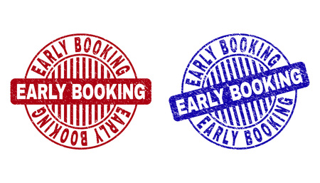 Ilustración de Grunge EARLY BOOKING round stamp seals isolated on a white background. Round seals with distress texture in red and blue colors. - Imagen libre de derechos