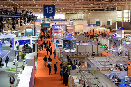 Photo pour Hannover, Germany - June 13, 2018: Overview of Hall 13 with several booths at the CeBIT 2018. CeBIT is the world's largest trade fair for information technology. - image libre de droit