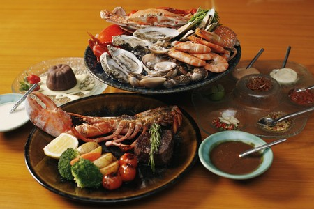 Seafood platter, lobster and chocolate cake
