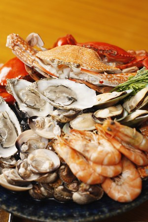 Seafood platter with sydney rock oysters, black and blue crab, rock lobster, tiger prawns, mussels, clams and cockles