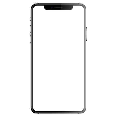 Illustration pour Black smartphone isolated white background front vector illustration. - image libre de droit