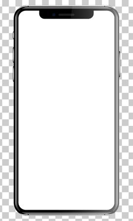 Illustration pour Black smartphone isolated transparency background front back side vector illustration. - image libre de droit