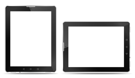 Illustration pour Rrealistic tablet computers with a connector for headphones and with speakers, in order to express your application. - image libre de droit