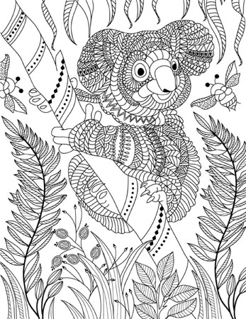 Photo for hand drawn animal coloring page - Royalty Free Image