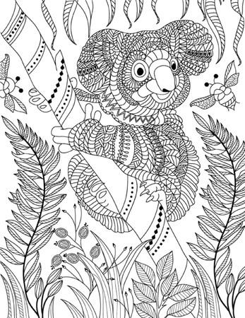 Photo pour hand drawn animal coloring page - image libre de droit