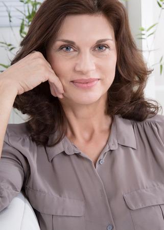 Foto für Portrait of a happy attractive middle aged woman. - Lizenzfreies Bild