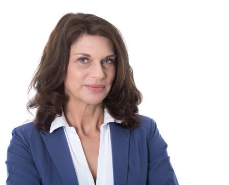 Foto für Portrait of a attractive and happy business woman isolated on white background  - Lizenzfreies Bild