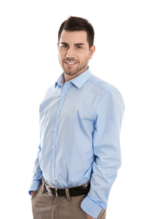 Photo pour Isolated handsome smiling business man over white. - image libre de droit