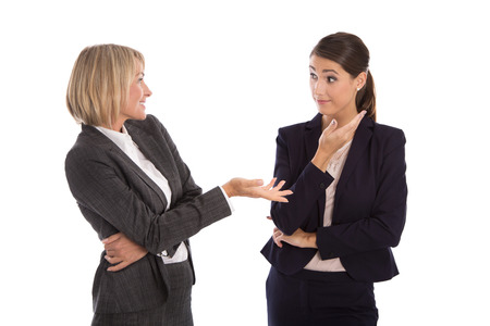 Photo pour Two isolated business woman talking together. - image libre de droit