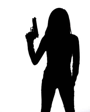 Photo pour Silhouette of woman with pistol on white background - image libre de droit