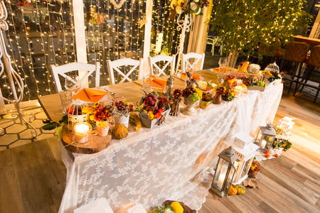 Photo for Christmas themed wedding table for bride and groom  - Royalty Free Image