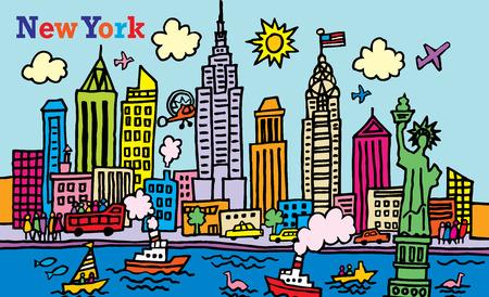 Illustration pour A cartoon style illustration of New York, City  - image libre de droit