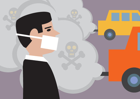 Illustration pour A man wearing a mask to lessen the effect of toxic, traffic pollution  - image libre de droit