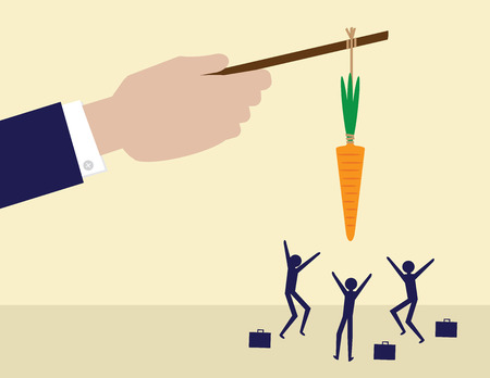 Illustration pour A large hand holds a carrot on a stick while his employees try to get it. A metaphor on management and leadership. - image libre de droit