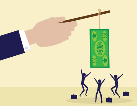 Illustration pour A large hand holds a cash note on a stick while his employees try to get it. A metaphor on management, leadership and financial incentive. - image libre de droit