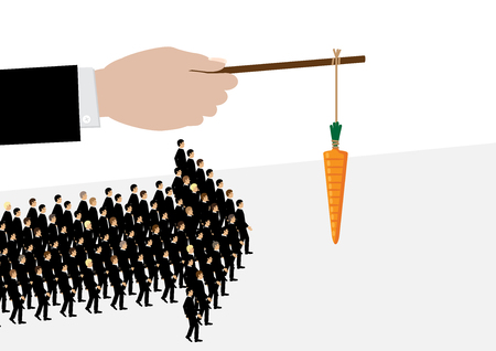 Illustration pour A large hand holds a carrot on a stick while his employees follow it in the shape of an arrow. A metaphor on management and leadership. - image libre de droit