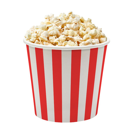 Foto de Popcorn in striped bucket on white background - Imagen libre de derechos