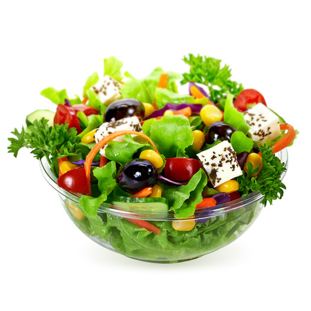 Photo pour Salad in takeaway container on white background - image libre de droit