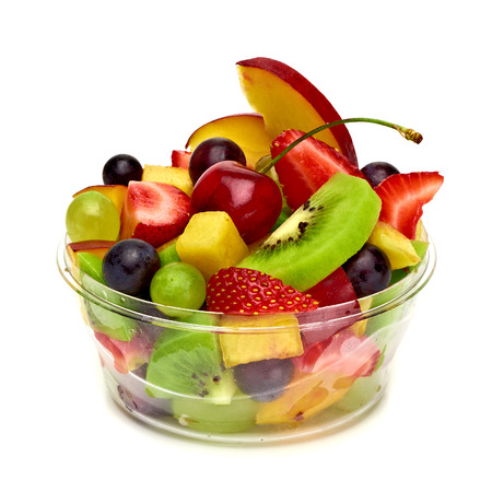 Photo for Fruit salad in take away cup on white background - Royalty Free Image