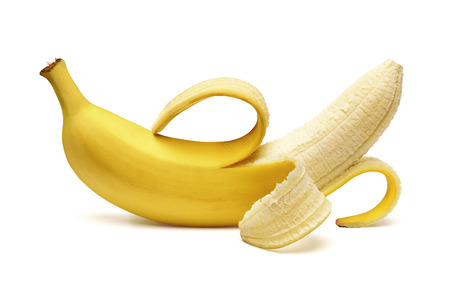 Photo pour Peeled banana on white background - image libre de droit