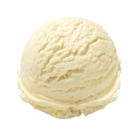 Photo for Scoop of vanilla ice cream on white background - Royalty Free Image